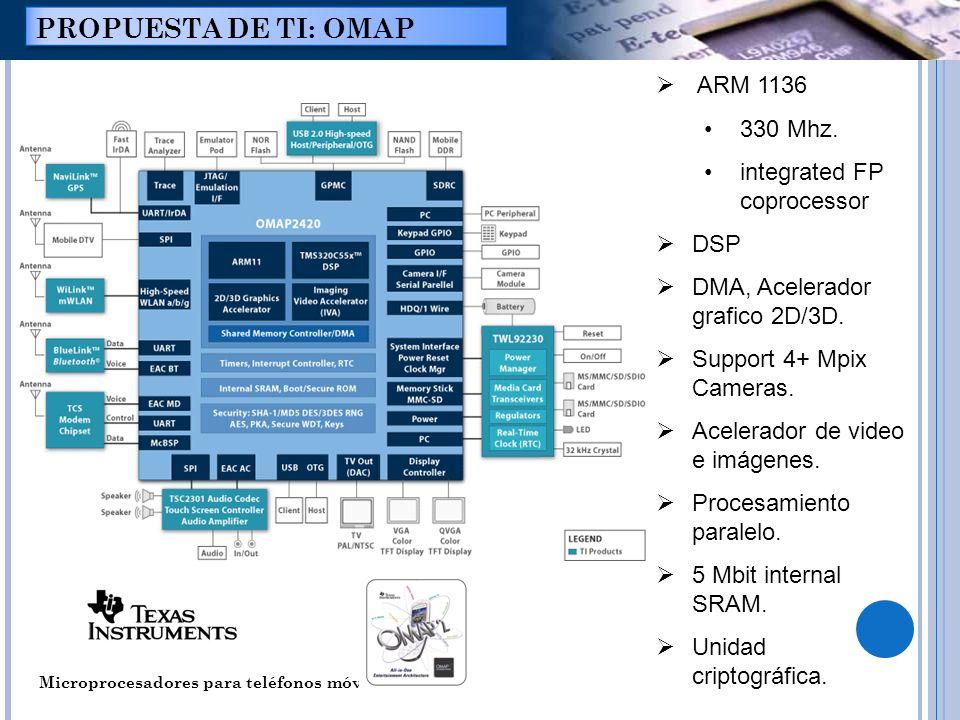 Microprocesadores para teléfonos móviles. PROPUESTA DE TI: OMAP ARM 1136 330 Mhz. integrated FP coprocessor DSP DMA, Acelerador grafico 2D/3D. Support