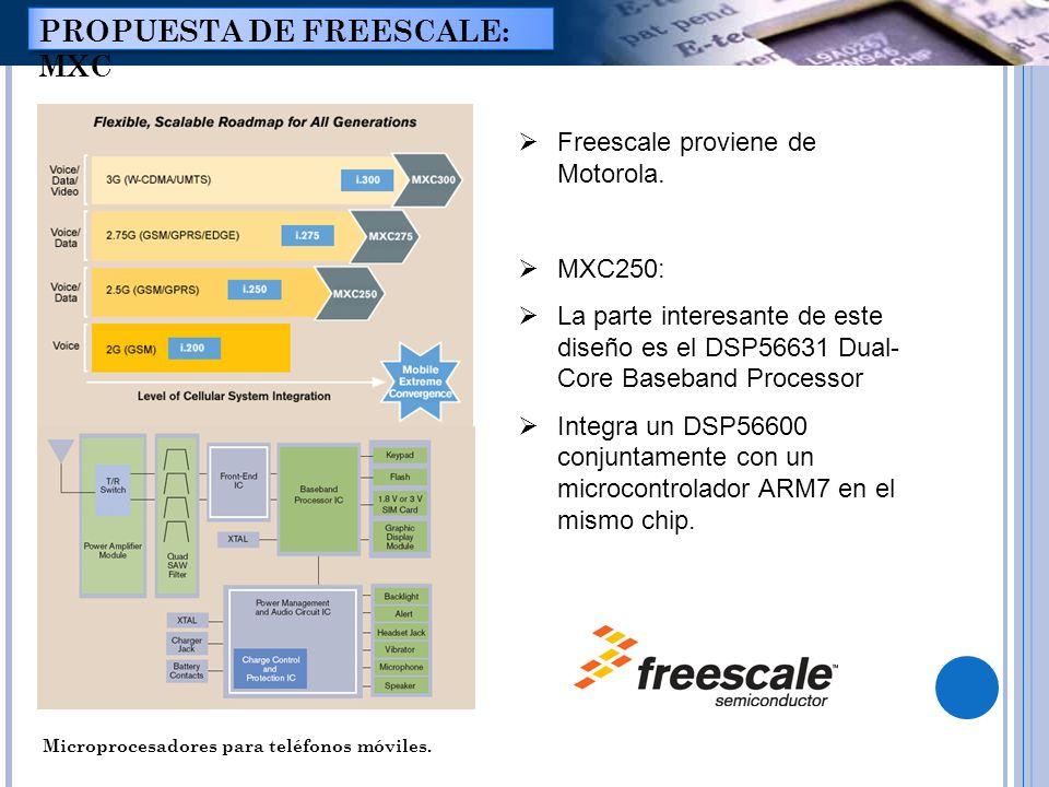 Microprocesadores para teléfonos móviles. PROPUESTA DE FREESCALE: MXC Freescale proviene de Motorola. MXC250: La parte interesante de este diseño es e