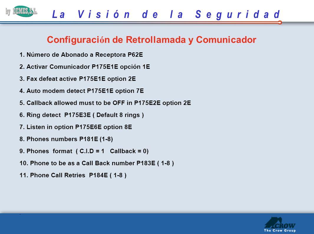 L a V i s i ó n d e l a S e g u r i d a d ESPECIFICACIONES COMUNICADOR Supervisión de Línea: Indica avería cuando el voltaje desciende de 3,5V. Detecc