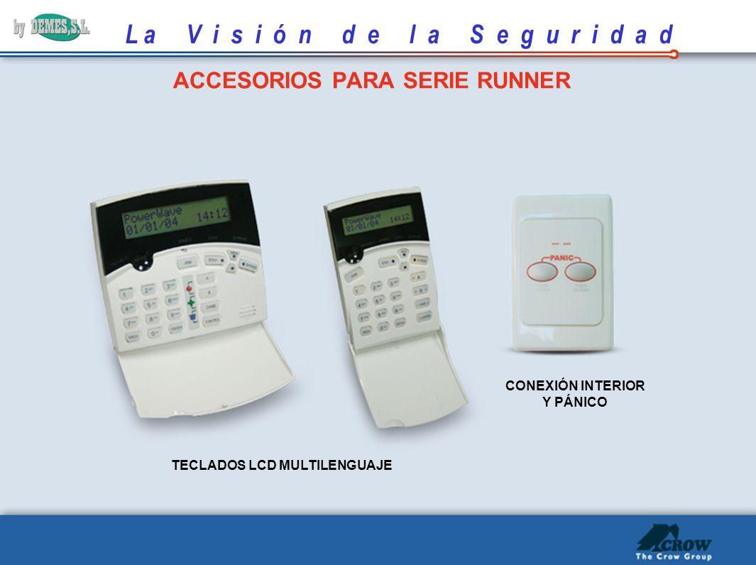 L a V i s i ó n d e l a S e g u r i d a d ACCESORIOS PARA SERIE RUNNER TECLADOS LCD MULTILENGUAJE CONEXIÓN INTERIOR Y PÁNICO