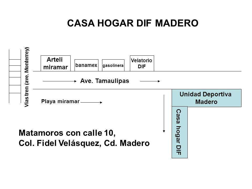 Vías tren (ave. Monterrey) Ave. Tamaulipas Arteli miramar banamex gasolinera Velatorio DIF Playa miramar Unidad Deportiva Madero Casa hogar DIF Matamo