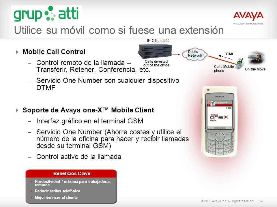 © 2009 Avaya Inc. All rights reserved.14 Mobile Call Control – Control remoto de la llamada – Transferir, Retener, Conferencia, etc. – Servicio One Nu