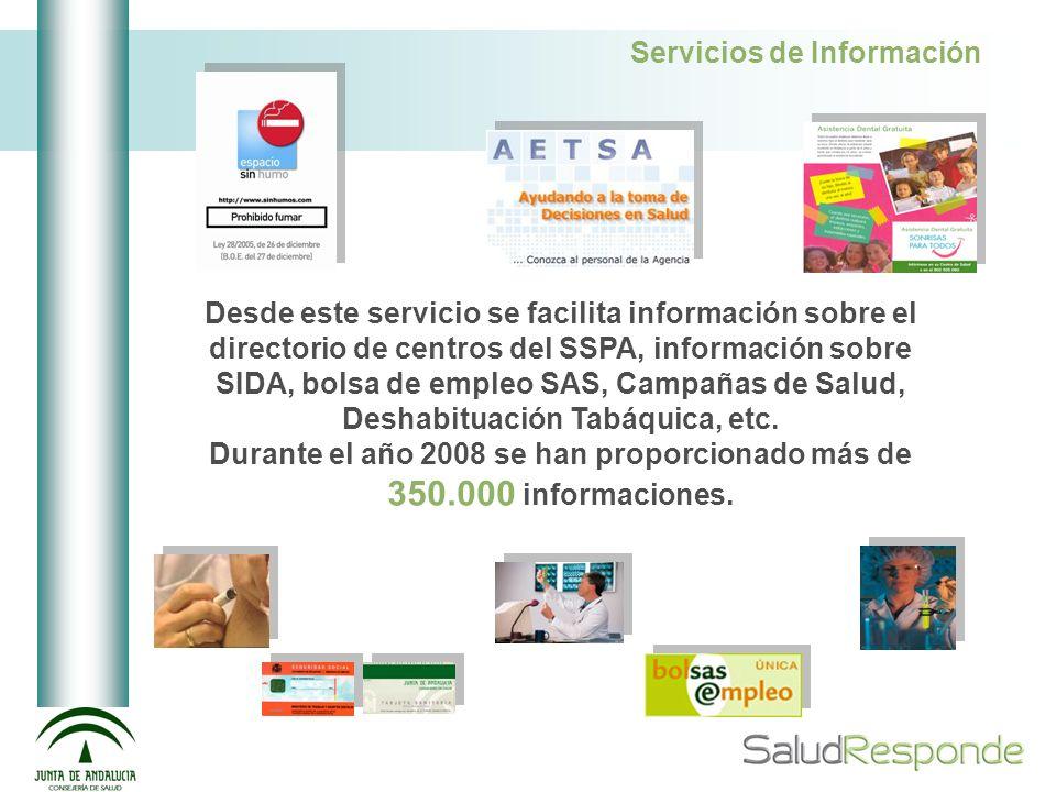 Servicios de Información Desde este servicio se facilita información sobre el directorio de centros del SSPA, información sobre SIDA, bolsa de empleo