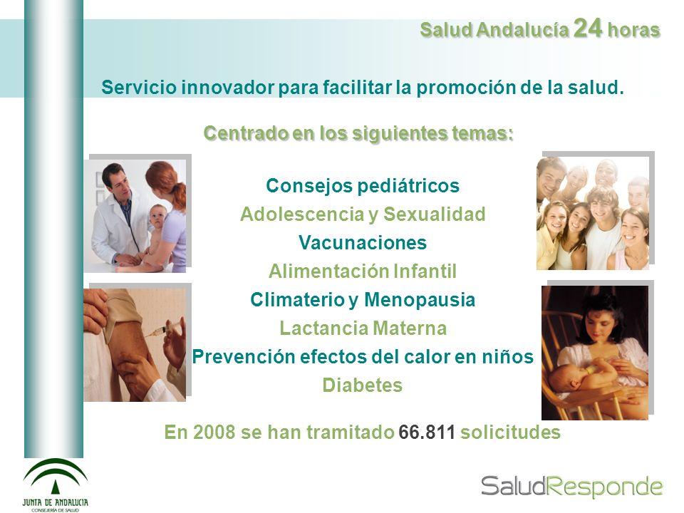 Salud Andalucía 24 horas Servicio innovador para facilitar la promoción de la salud. Centrado en los siguientes temas: Consejos pediátricos Adolescenc
