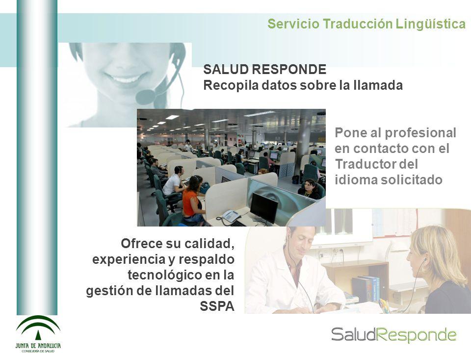 Servicio Traducción Lingüística SALUD RESPONDE Recopila datos sobre la llamada Pone al profesional en contacto con el Traductor del idioma solicitado