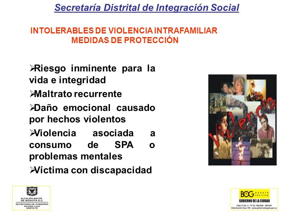 Secretaría Distrital de Integración Social INTOLERABLES DE VIOLENCIA INTRAFAMILIAR MEDIDAS DE PROTECCIÓN Riesgo inminente para la vida e integridad Ma
