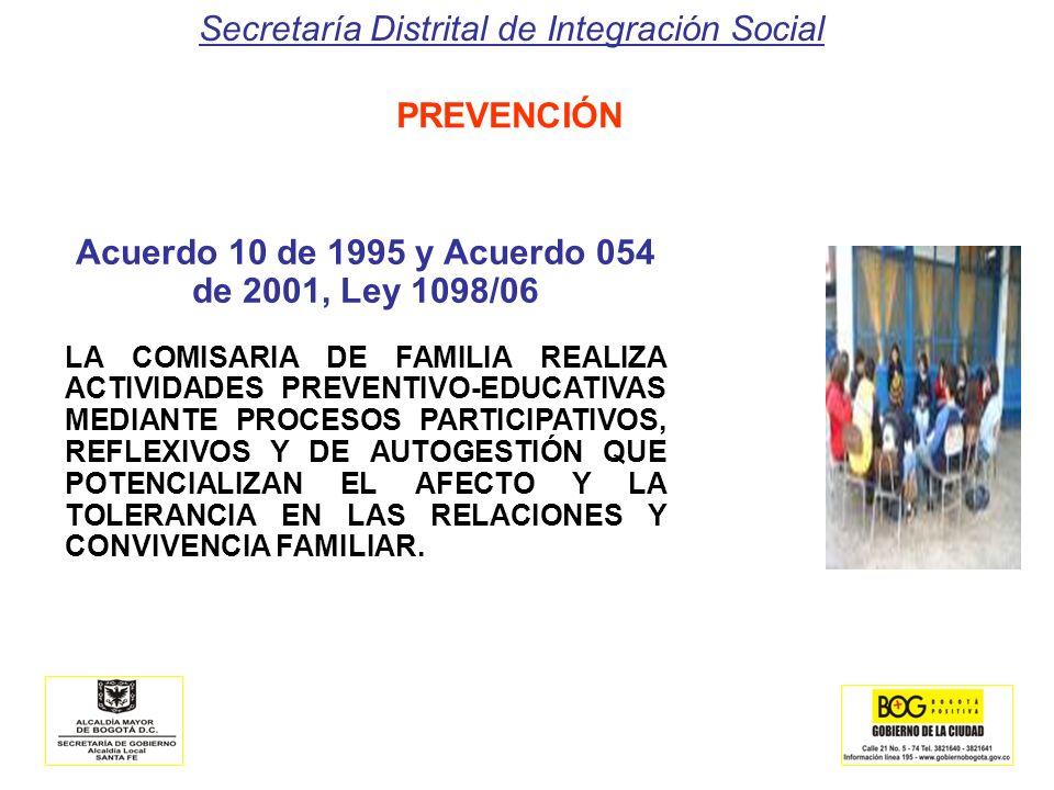 Secretaría Distrital de Integración Social PREVENCIÓN Acuerdo 10 de 1995 y Acuerdo 054 de 2001, Ley 1098/06 LA COMISARIA DE FAMILIA REALIZA ACTIVIDADE
