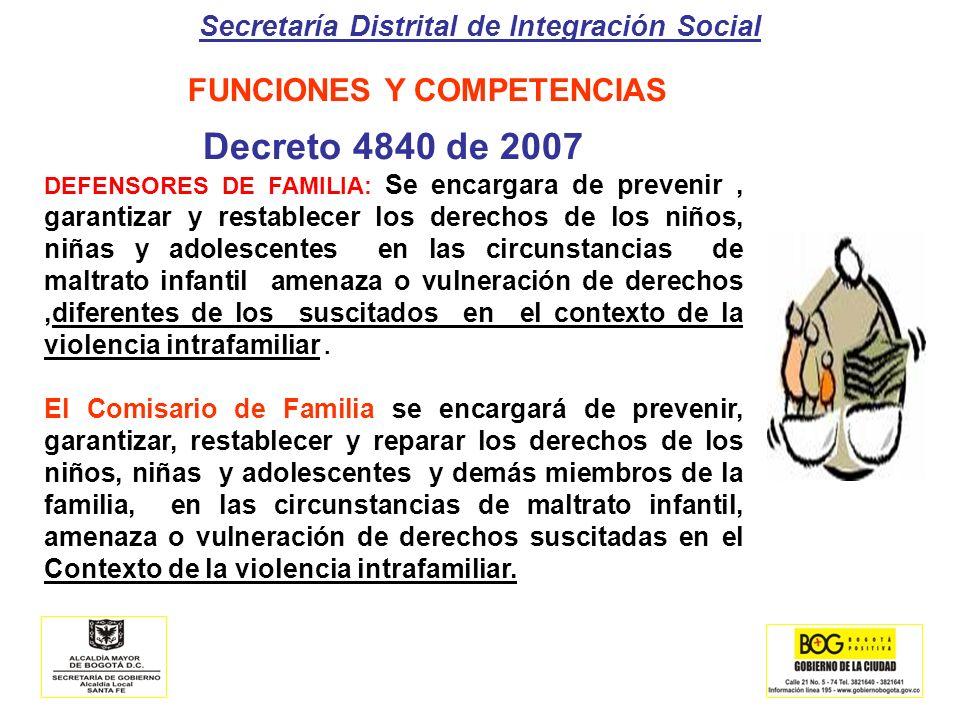 Secretaría Distrital de Integración Social FUNCIONES Y COMPETENCIAS Decreto 4840 de 2007 DEFENSORES DE FAMILIA: Se encargara de prevenir, garantizar y