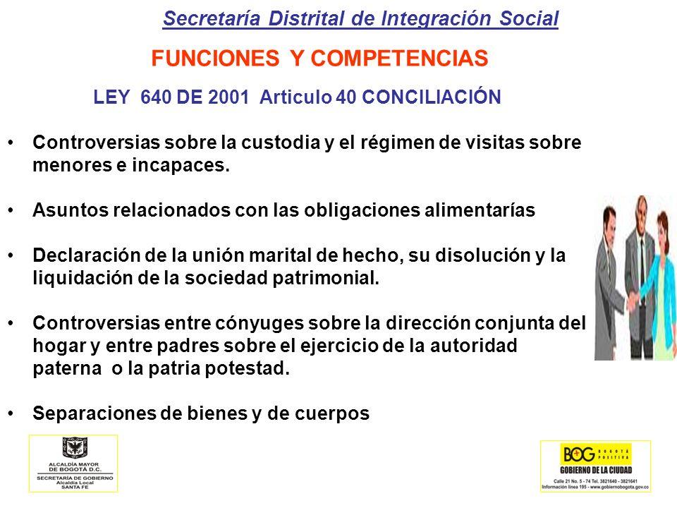 Secretaría Distrital de Integración Social LEY 640 DE 2001 Articulo 40 CONCILIACIÓN Controversias sobre la custodia y el régimen de visitas sobre meno