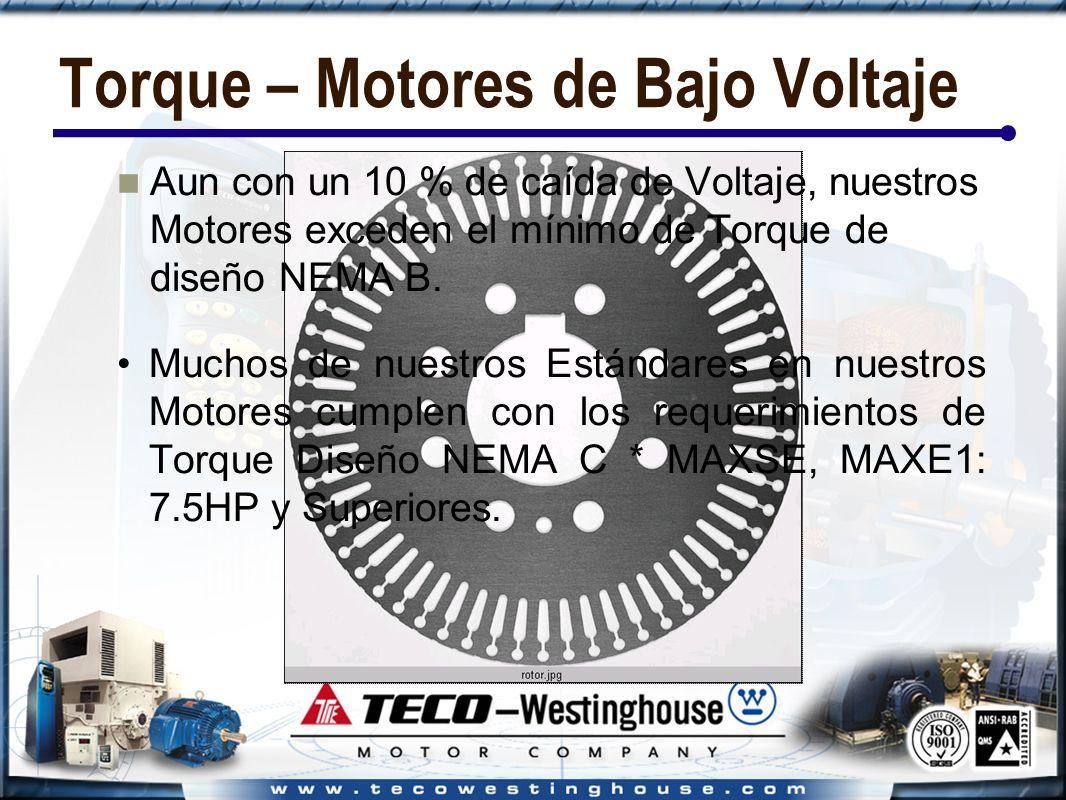 Torque – Motores de Bajo Voltaje Aun con un 10 % de caída de Voltaje, nuestros Motores exceden el mínimo de Torque de diseño NEMA B.