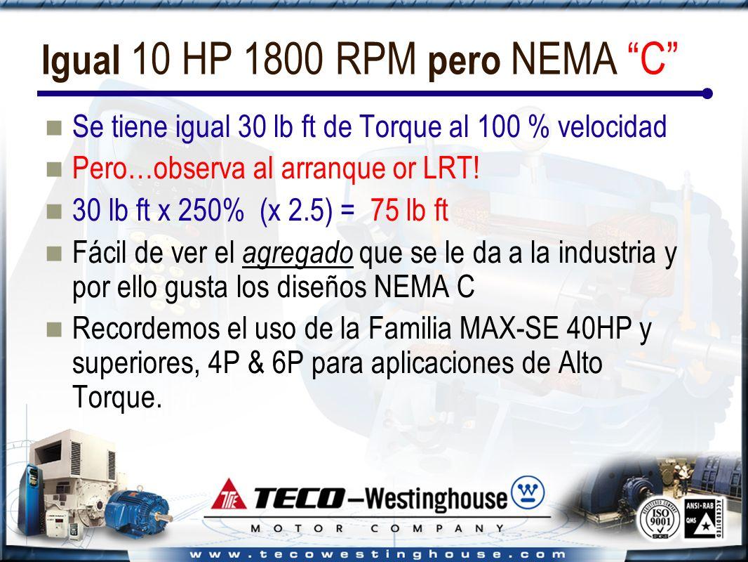 Igual 10 HP 1800 RPM pero NEMA C Se tiene igual 30 lb ft de Torque al 100 % velocidad Pero…observa al arranque or LRT.