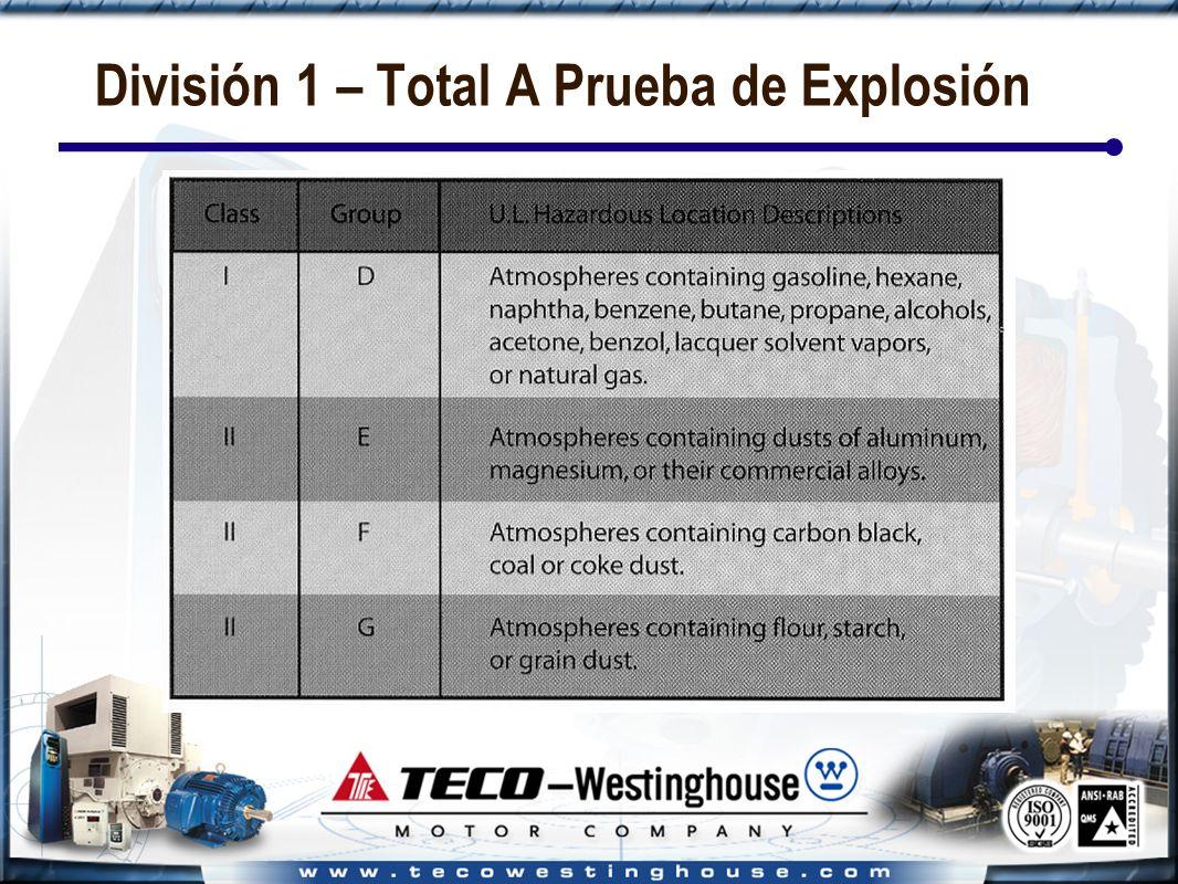 División 1 – Total A Prueba de Explosión