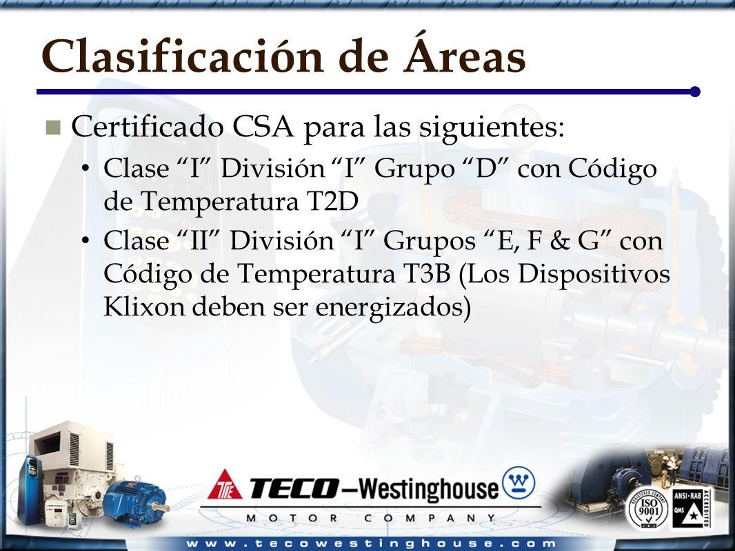 Clasificación de Áreas Certificado CSA para las siguientes: Clase I División I Grupo D con Código de Temperatura T2D Clase II División I Grupos E, F & G con Código de Temperatura T3B (Los Dispositivos Klixon deben ser energizados)