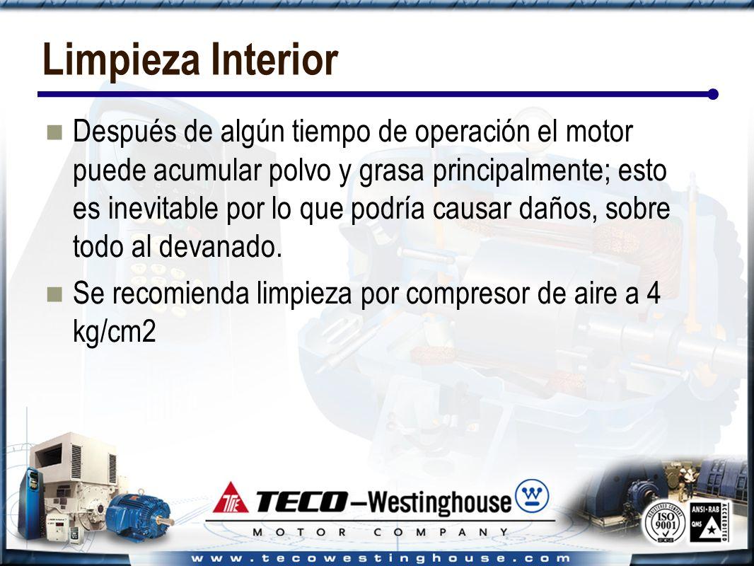 Limpieza Interior Después de algún tiempo de operación el motor puede acumular polvo y grasa principalmente; esto es inevitable por lo que podría causar daños, sobre todo al devanado.