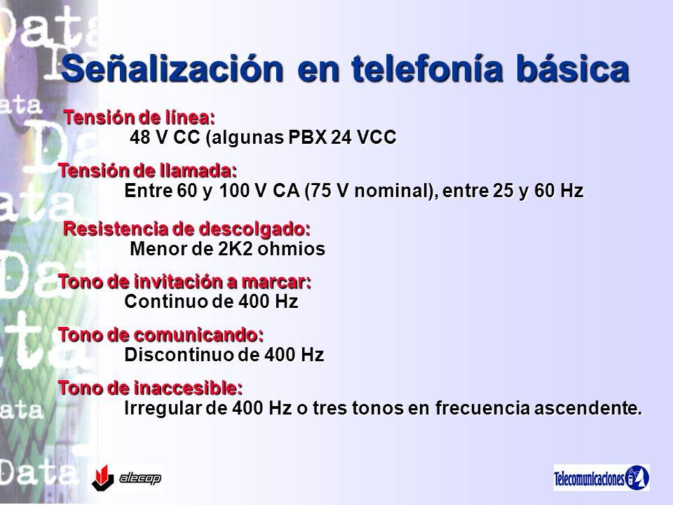 Tensión de llamada: Entre 60 y 100 V CA (75 V nominal), entre 25 y 60 Hz Señalización en telefonía básica Tensión de línea: 48 V CC (algunas PBX 24 VC