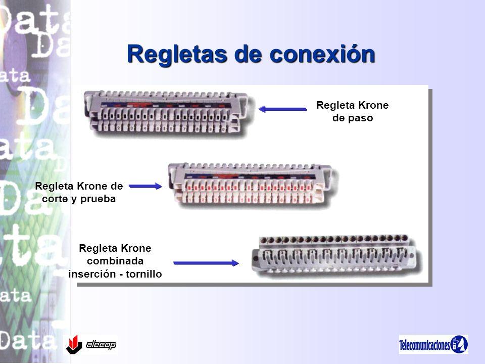 Regletas de conexión Regleta Krone de paso Regleta Krone de corte y prueba Regleta Krone combinada inserción - tornillo
