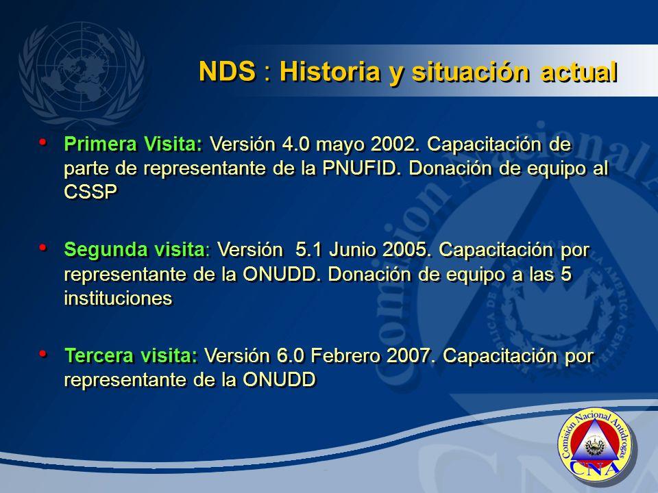 Primera Visita: Versión 4.0 mayo 2002.Capacitación de parte de representante de la PNUFID.