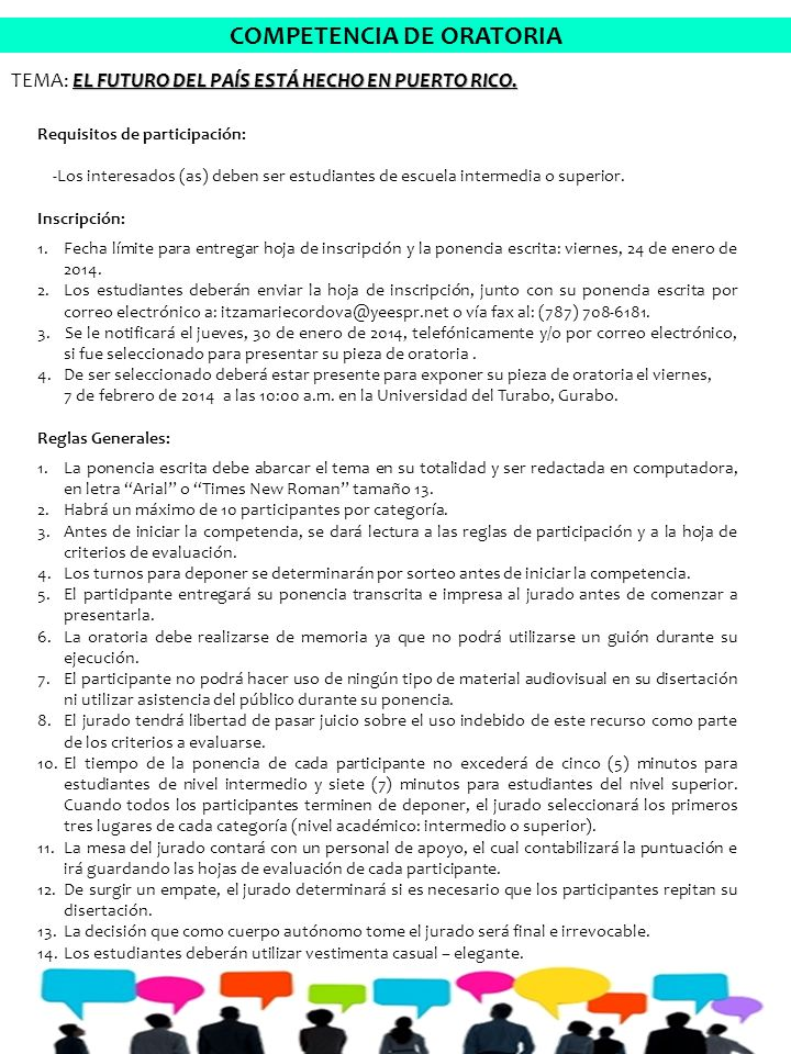 Requisitos de participación: -Los interesados (as) deben ser estudiantes de escuela intermedia o superior.