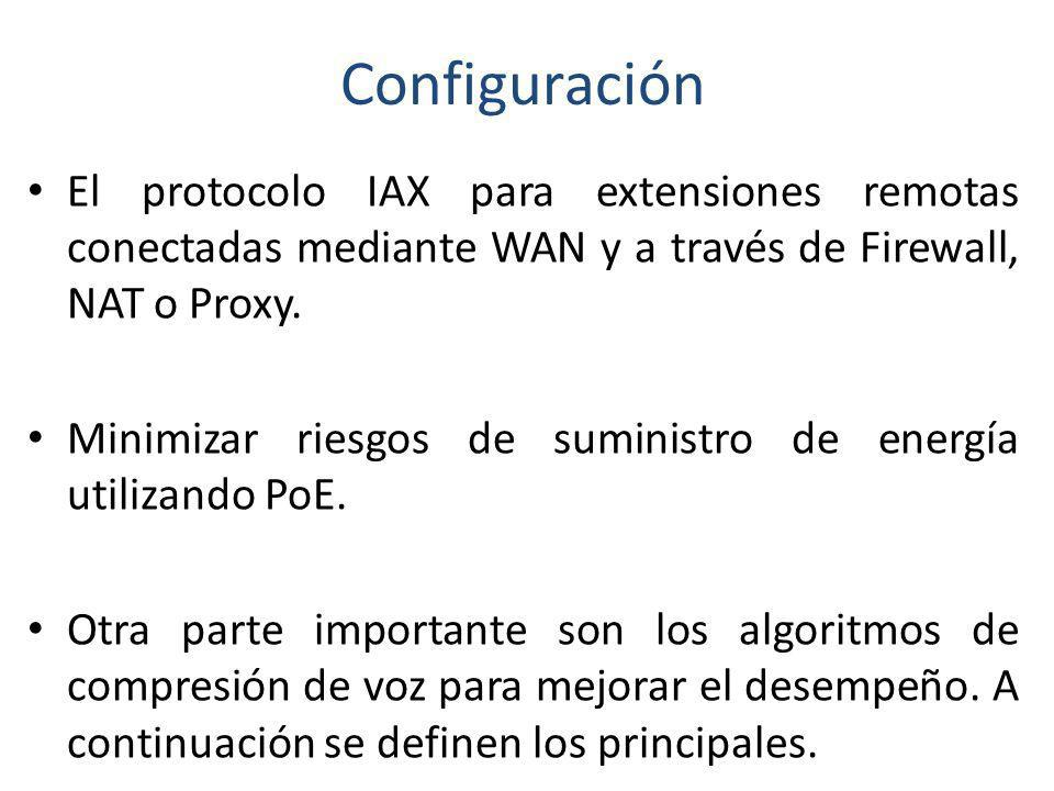 Configuración El protocolo IAX para extensiones remotas conectadas mediante WAN y a través de Firewall, NAT o Proxy. Minimizar riesgos de suministro d