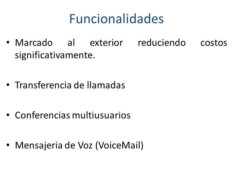 Funcionalidades Marcado al exterior reduciendo costos significativamente. Transferencia de llamadas Conferencias multiusuarios Mensajeria de Voz (Voic