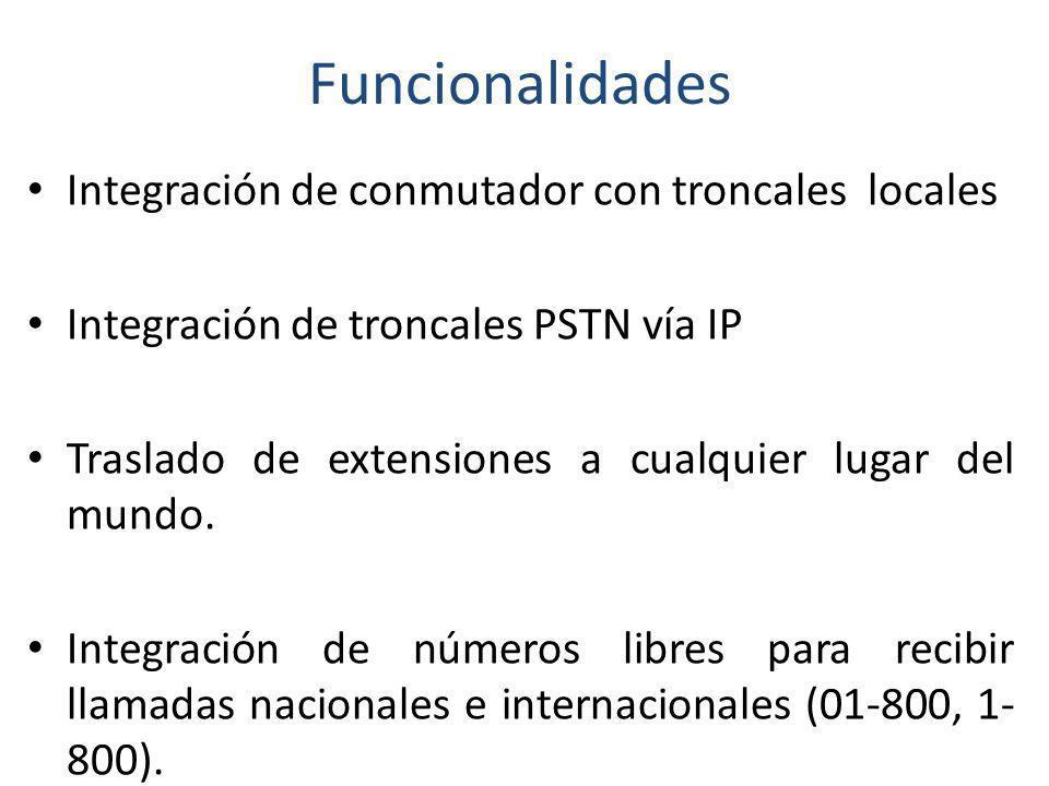 Funcionalidades Integración de conmutador con troncales locales Integración de troncales PSTN vía IP Traslado de extensiones a cualquier lugar del mun