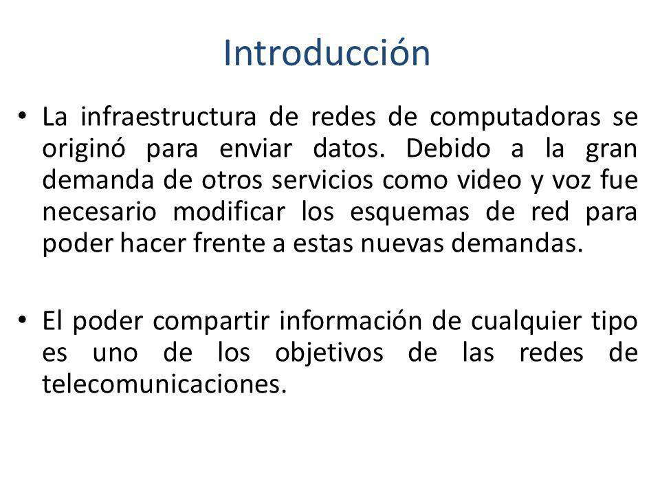 Introducción La infraestructura de redes de computadoras se originó para enviar datos. Debido a la gran demanda de otros servicios como video y voz fu