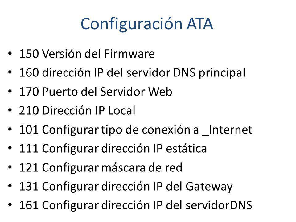 Configuración ATA 150 Versión del Firmware 160 dirección IP del servidor DNS principal 170 Puerto del Servidor Web 210 Dirección IP Local 101 Configur