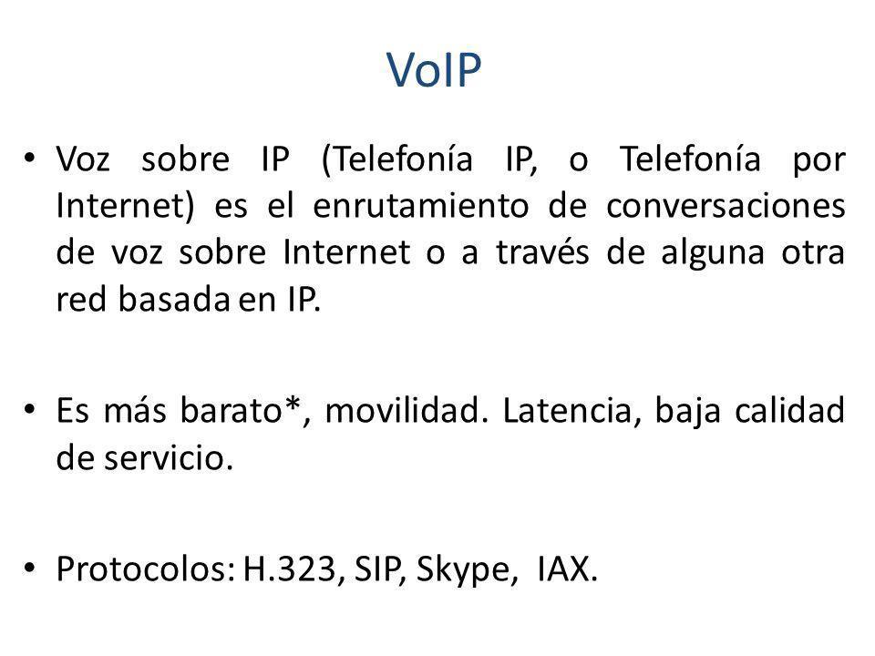VoIP Existen muchas tipos de alternativas VoIP como: Marcas Comerciales –Avaya –Cisco Software libre –Asterisk –Asterisk@home (Trixbox) –SER –YATE
