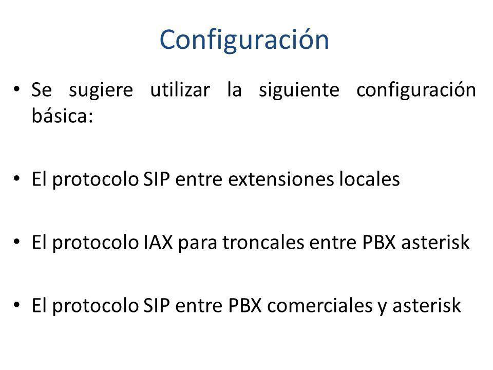 Configuración Se sugiere utilizar la siguiente configuración básica: El protocolo SIP entre extensiones locales El protocolo IAX para troncales entre