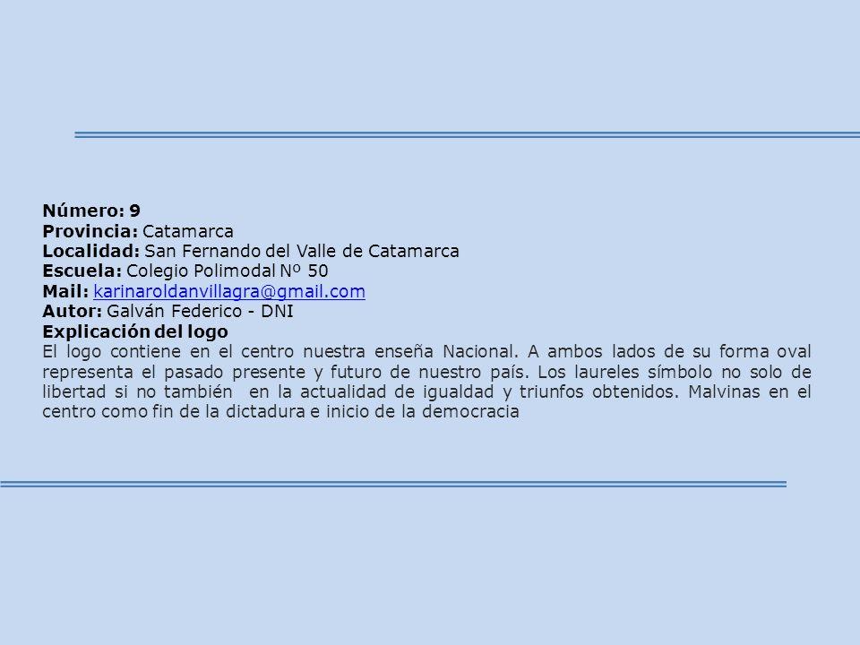 Número: 9 Provincia: Catamarca Localidad: San Fernando del Valle de Catamarca Escuela: Colegio Polimodal Nº 50 Mail: karinaroldanvillagra@gmail.comkar