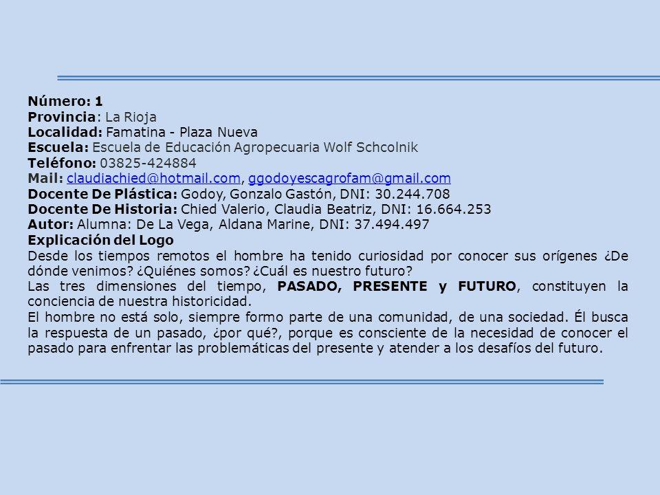 Número: 1 Provincia: La Rioja Localidad: Famatina - Plaza Nueva Escuela: Escuela de Educación Agropecuaria Wolf Schcolnik Teléfono: 03825-424884 Mail: