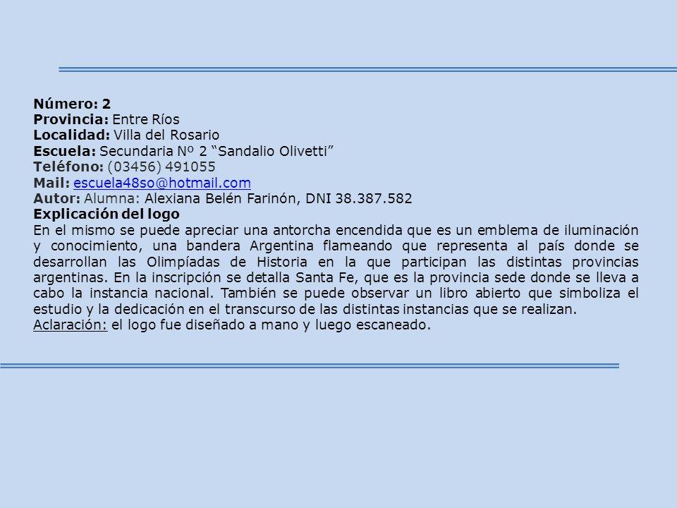 Número: 2 Provincia: Entre Ríos Localidad: Villa del Rosario Escuela: Secundaria Nº 2 Sandalio Olivetti Teléfono: (03456) 491055 Mail: escuela48so@hot