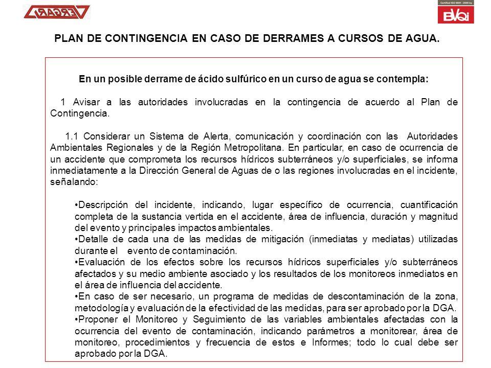 En un posible derrame de ácido sulfúrico en un curso de agua se contempla: 1 Avisar a las autoridades involucradas en la contingencia de acuerdo al Pl