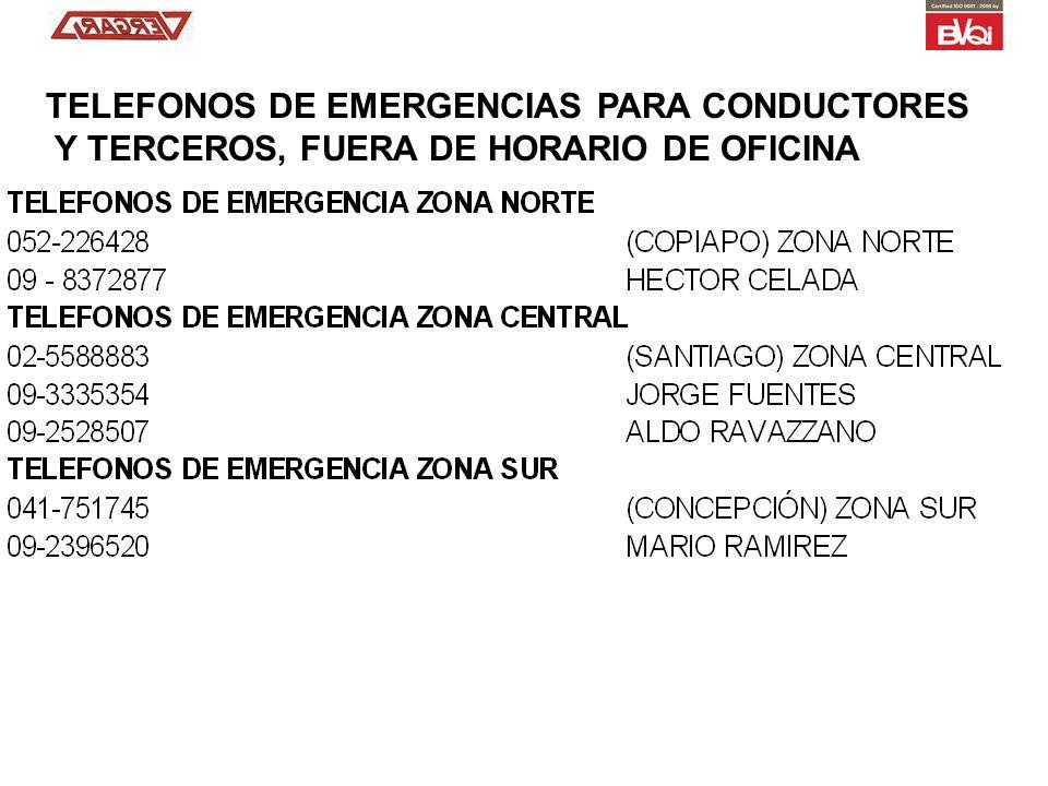 TELEFONOS DE EMERGENCIAS PARA CONDUCTORES Y TERCEROS, FUERA DE HORARIO DE OFICINA