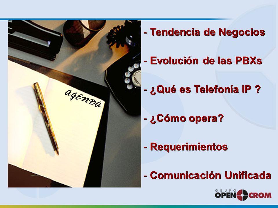 AGENDA - Tendencia de Negocios - Evolución de las PBXs - ¿Qué es Telefonía IP .