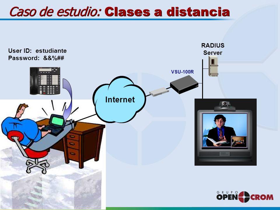 RADIUS Server User ID: estudiante Password: &&%## Internet VSU-100R Caso de estudio: Clases a distancia