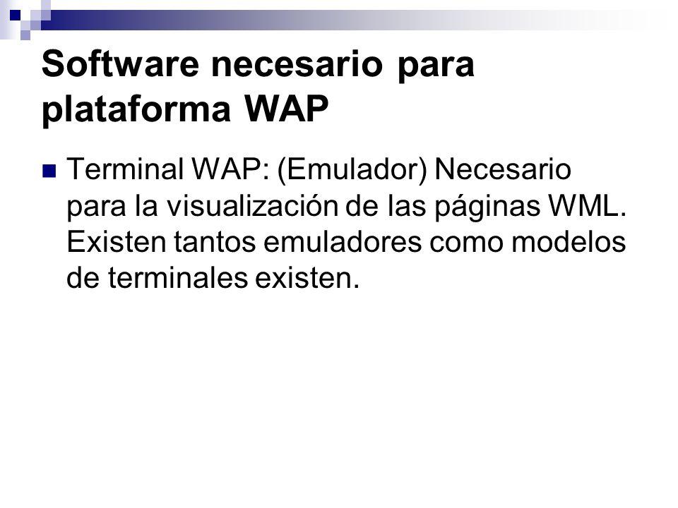 Software necesario para plataforma WAP Terminal WAP: (Emulador) Necesario para la visualización de las páginas WML. Existen tantos emuladores como mod