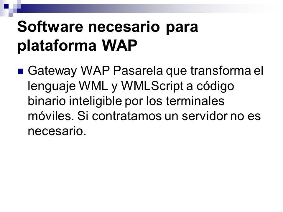Software necesario para plataforma WAP Gateway WAP Pasarela que transforma el lenguaje WML y WMLScript a código binario inteligible por los terminales