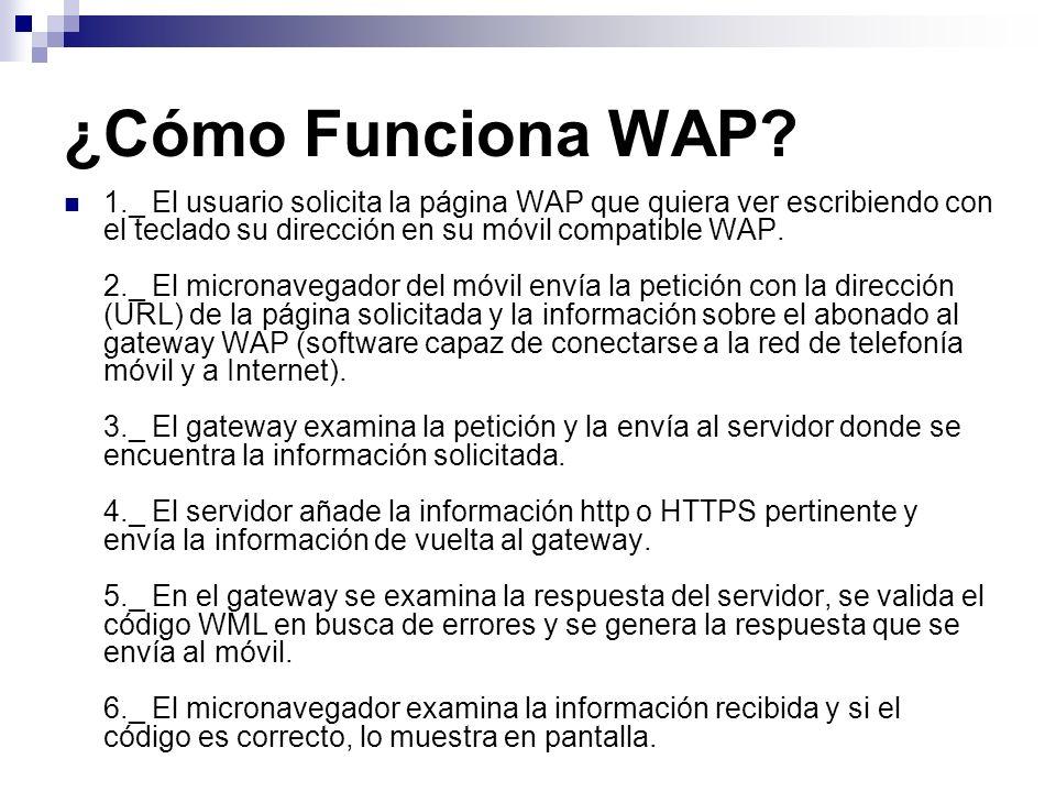 ¿Cómo Funciona WAP? 1._ El usuario solicita la página WAP que quiera ver escribiendo con el teclado su dirección en su móvil compatible WAP. 2._ El mi