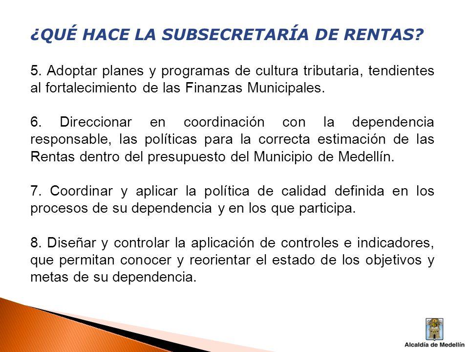 ¿QUÉ HACE LA SUBSECRETARÍA DE RENTAS? 5. Adoptar planes y programas de cultura tributaria, tendientes al fortalecimiento de las Finanzas Municipales.
