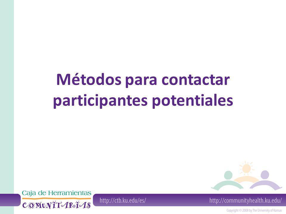 Métodos para contactar participantes potentiales