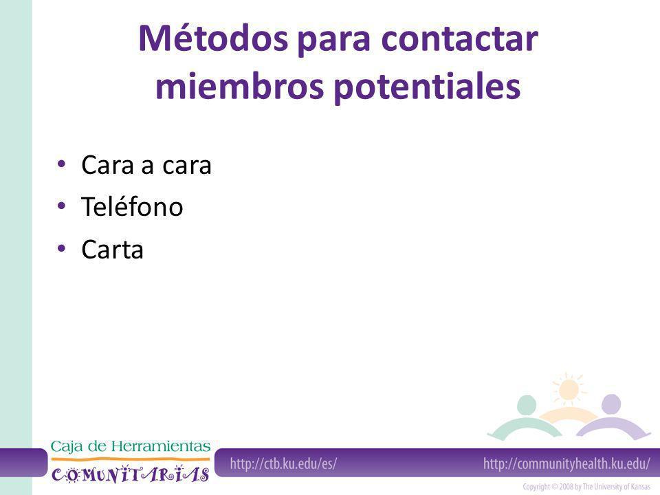 Métodos para contactar miembros potentiales Cara a cara Teléfono Carta