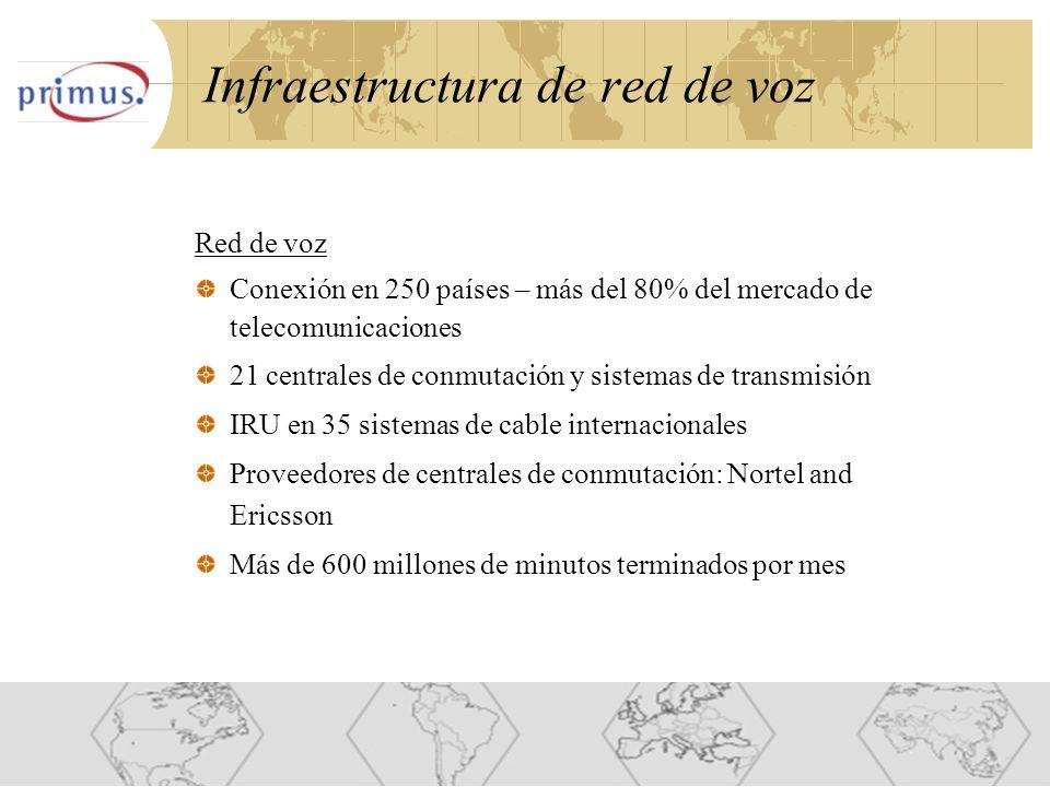 12 Infraestructura de red de voz Red de voz Conexión en 250 países – más del 80% del mercado de telecomunicaciones 21 centrales de conmutación y sistemas de transmisión IRU en 35 sistemas de cable internacionales Proveedores de centrales de conmutación: Nortel and Ericsson Más de 600 millones de minutos terminados por mes