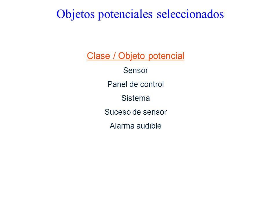 Clase / Objeto potencial Sensor Panel de control Sistema Suceso de sensor Alarma audible Objetos potenciales seleccionados