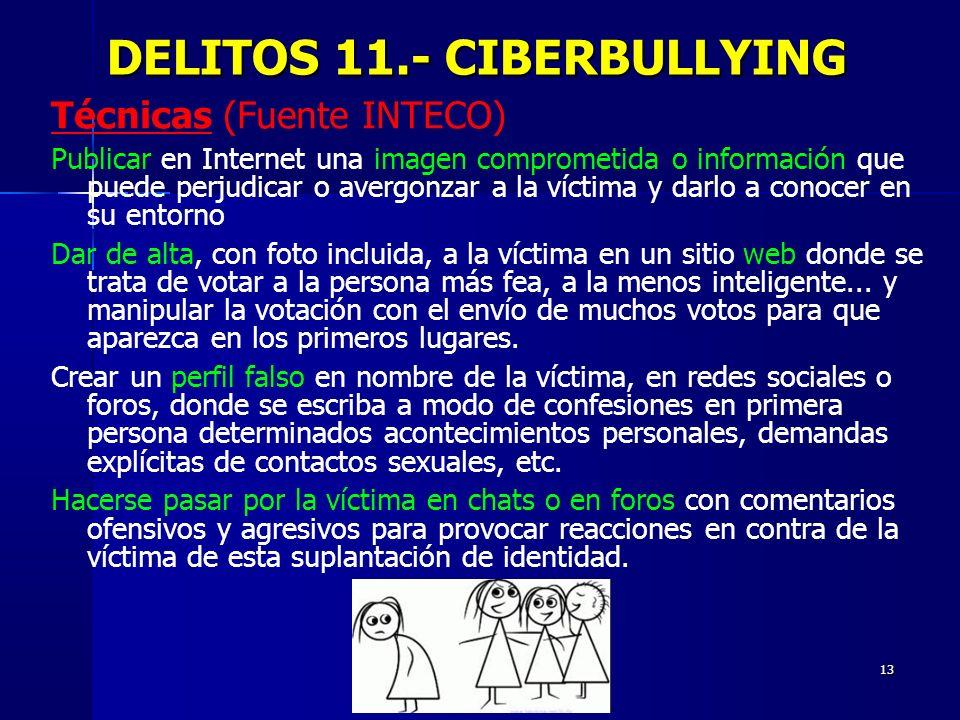 13 DELITOS 11.- CIBERBULLYING DELITOS 11.- CIBERBULLYING Técnicas (Fuente INTECO) Publicar en Internet una imagen comprometida o información que puede