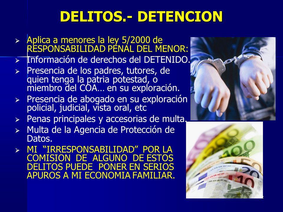 2 DELITOS.- DETENCION Aplica a menores la ley 5/2000 de RESPONSABILIDAD PENAL DEL MENOR: Información de derechos del DETENIDO. Presencia de los padres