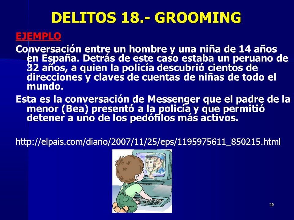 20 DELITOS 18.- GROOMING DELITOS 18.- GROOMING EJEMPLO Conversación entre un hombre y una niña de 14 años en España. Detrás de este caso estaba un per