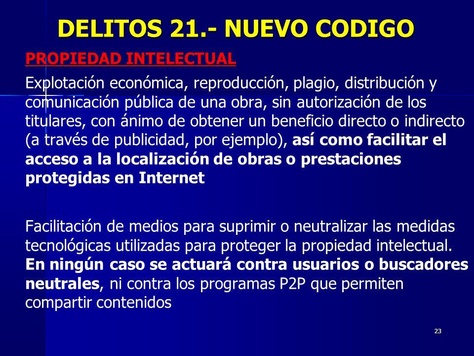 23 DELITOS 21.- NUEVO CODIGO DELITOS 21.- NUEVO CODIGO PROPIEDAD INTELECTUAL Explotación económica, reproducción, plagio, distribución y comunicación
