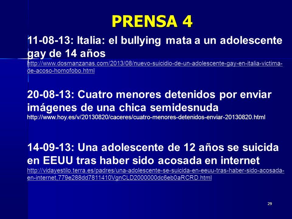 29 11-08-13: Italia: el bullying mata a un adolescente gay de 14 años http://www.dosmanzanas.com/2013/08/nuevo-suicidio-de-un-adolescente-gay-en-itali