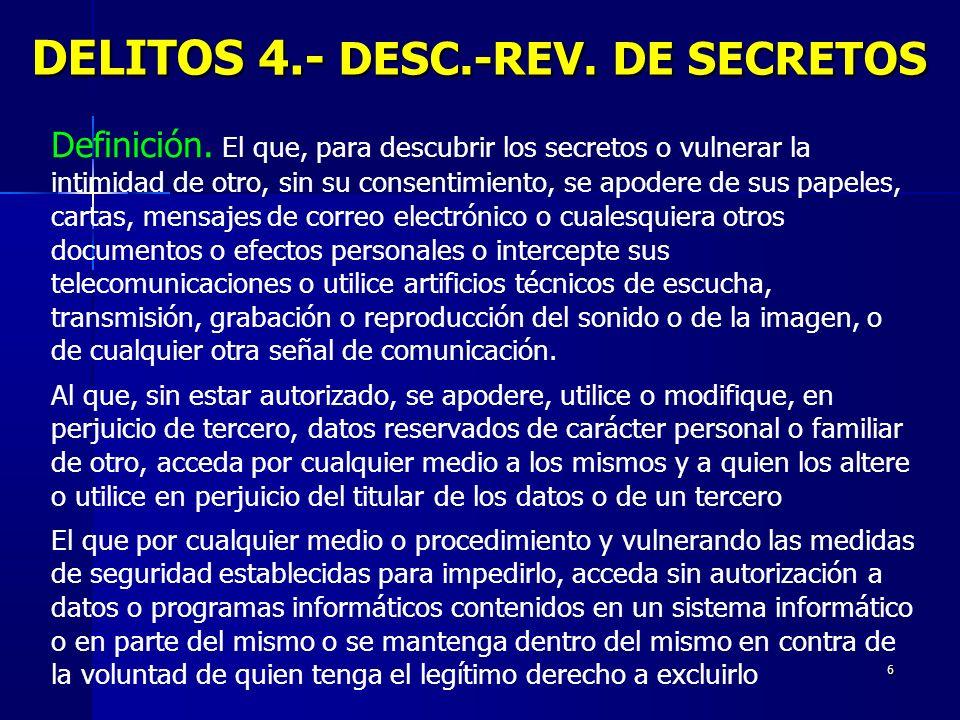 6 DELITOS 4.- DESC.-REV. DE SECRETOS Definición. El que, para descubrir los secretos o vulnerar la intimidad de otro, sin su consentimiento, se apoder